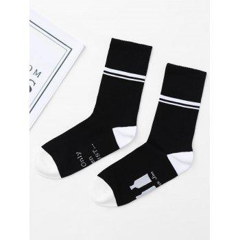 Graphic Print Crew Socks - BLACK ONE SIZE
