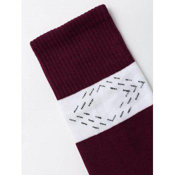 Graphic Color Block Christmas Socks - WINE RED WINE RED