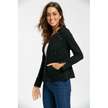 Ring Embellished Zip Up Hoodie - BLACK L