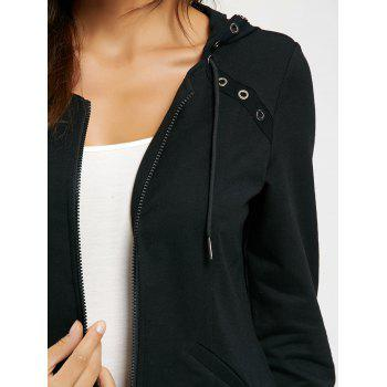 Ring Embellished Zip Up Hoodie - BLACK XL
