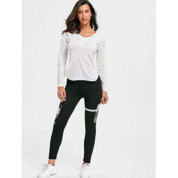 High Waisted Graphic Skinny Leggings - WHITE L