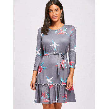 Casual Flounce Floral Dress - GRAY L