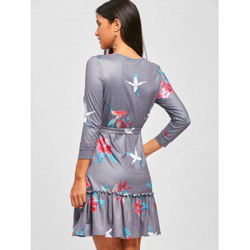 Casual Flounce Floral Dress - GRAY GRAY