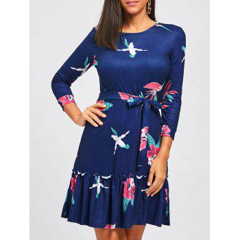 Casual Flounce Floral Dress - DEEP BLUE M