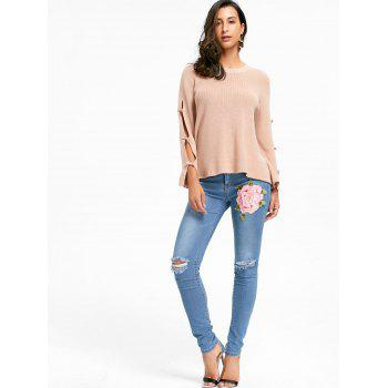 Ripped Flower Embroidered Denim Cuffed Jeans - DENIM BLUE L