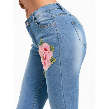 Ripped Flower Embroidered Denim Cuffed Jeans - DENIM BLUE S
