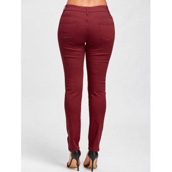Distressed High Rise Skinny Colored Jeans - RED S