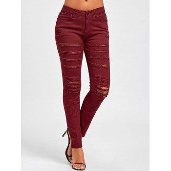 Distressed High Rise Skinny Colored Jeans - RED RED
