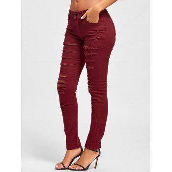 Distressed High Rise Skinny Colored Jeans - RED XL
