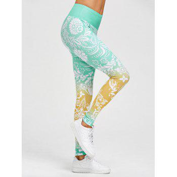 High Waisted Floral Print Gym Leggings - GREEN M
