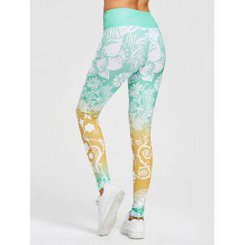 High Waisted Floral Print Gym Leggings - M M