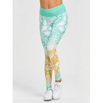 High Waisted Floral Print Gym Leggings - GREEN GREEN