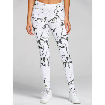 High Waist Printed Skinny Gym Leggings - WHITE XL