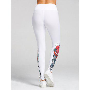 High Waist 3D Rose Print Skinny Leggings - M M