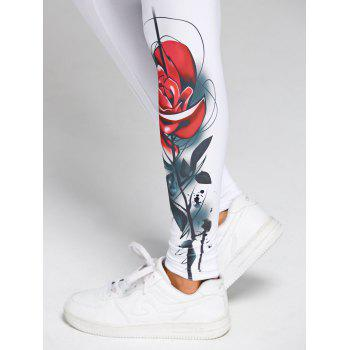 High Waist 3D Rose Print Skinny Leggings - WHITE 2XL