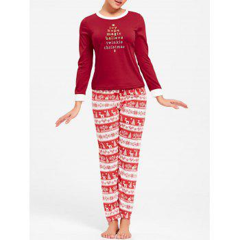 Christmas T Shirt with Pants Pajama Set - RED M