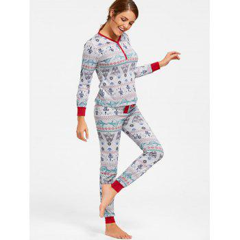 Printed Christmas Pajama Set - COLORMIX COLORMIX