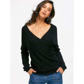Off Shoulder Surplice Sweater - BLACK ONE SIZE