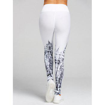 Christmas Tree Print High Waist Leggings - WHITE M