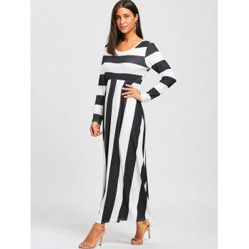 Striped Floor Length Long Sleeve Dress - BLACK/WHITE BLACK/WHITE