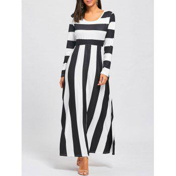 Striped Floor Length Long Sleeve Dress - BLACK AND WHITE S