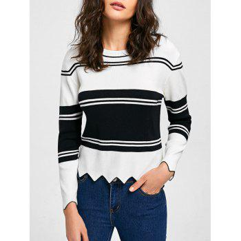 High Low Drop Shoulder Trim Sweater - WHITE AND BLACK M