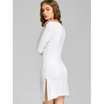 Low Cut Lace Up Slit Knitted Dress - WHITE WHITE