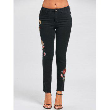 Skinny Floral Embroidered Jeans - BLACK L