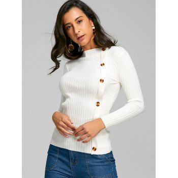 Ribbed Side Button Up Knit Sweater - WHITE ONE SIZE