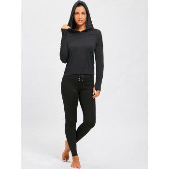 Sports Breathable Sheer Hooded T-shirt - BLACK L