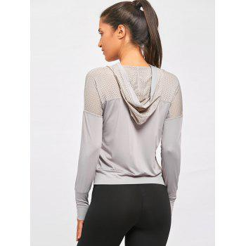 Sports Breathable Sheer Hooded T-shirt - GRAY L