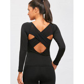 Back Cutout Criss Cross Tee - BLACK M