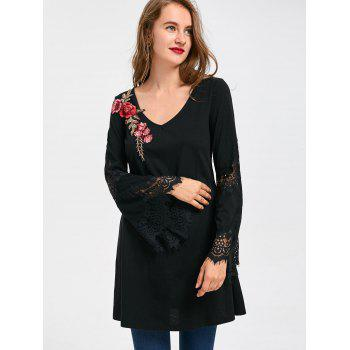 2018 Lace Insert Flare Sleeve Embroidered Long Top Black Xl In Long