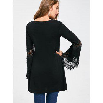 Lace Insert Flare Sleeve Embroidered Long Top - BLACK XL