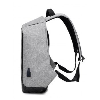 USB Charging Port Straight Line Backpack - GRAY