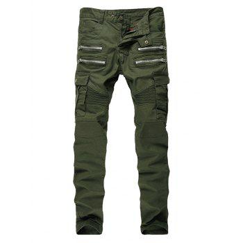 Zip Ribbed Moto Cargo Jeans - GREEN GREEN