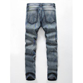Bleach Dye Knee Holes Slim Jeans - BLUE BLUE
