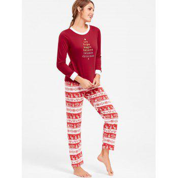 Christmas T Shirt with Pants Pajama Set - RED RED