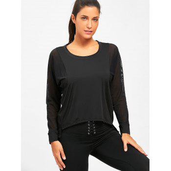 Sheer Mesh Panel Sports T-shirt - BLACK BLACK