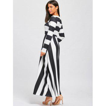 Striped Floor Length Long Sleeve Dress - BLACK/WHITE L