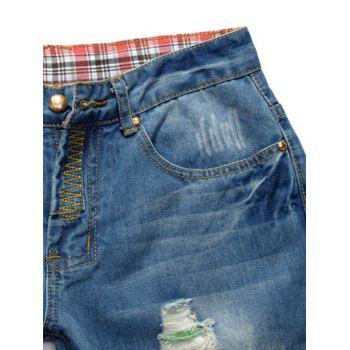 Straight Leg Colored Distressed Jeans - BLUE BLUE
