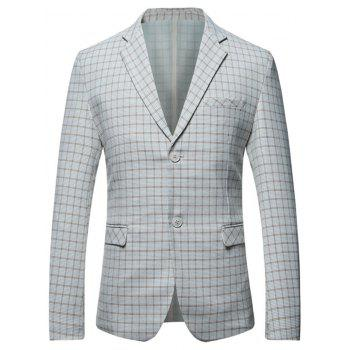 Casual Flap Pocket Lapel Checked Blazer - GRAY GRAY