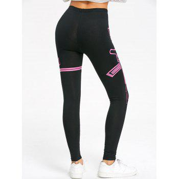 High Waisted Graphic Skinny Leggings - BLACK / ROSE M