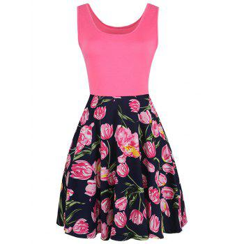 Sleeveless Fit and Flare Floral Print Dress - COLORMIX COLORMIX