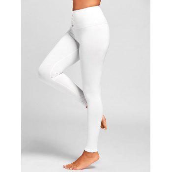 Criss Cross High Rise Sports Leggings - WHITE M