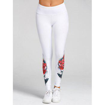 High Waist 3D Rose Print Skinny Leggings - WHITE M