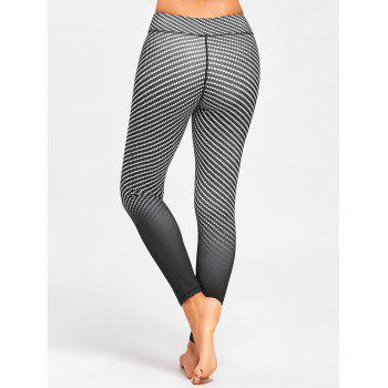 Argyle Printed Ombre Fitness Leggings - BLACK S