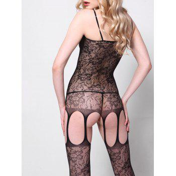 See Through Fishnet Cut Out Bodystockings - BLACK ONE SIZE