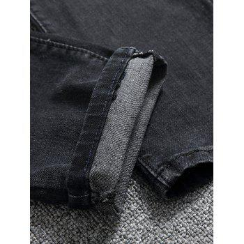 Zip Frayed Ripped Moto Jeans - BLACK 30