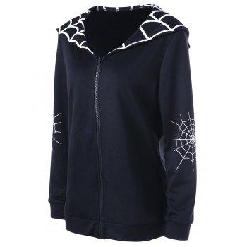 Halloween Plus Size Spider Web Coat - BLACK 2XL